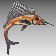 Jeronimo Fuentes Mexican Sterling Enamel Swordfish Pin