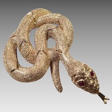 Vintage Gold Tone Coiled Snake Pin With Faux Ruby Eyes