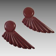 Pair Of Art Deco Brown Carved Bakelite Clips
