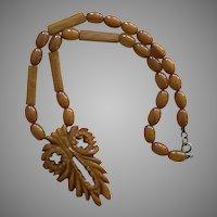 Vintage Caramel Bakelite  Carved Owl Pendant Necklace