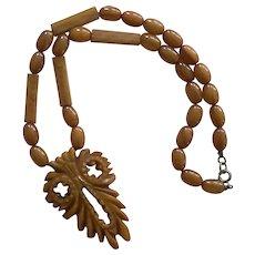 Vintage Bakelite Caramel Carved Owl Pendant Necklace