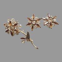 REDUCED Vintage Multi-Tiered Rhinestone Flower Pin & Earrings Set