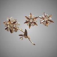 Vintage Multi-Tiered Rhinestone Flower Pin & Earrings Set