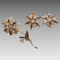 Vintage Multi-Tiered Rhinestone Flower Pin & Earrings Set