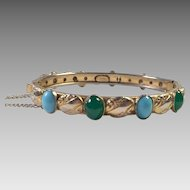 Vintage Freirich HInged Bangle With Faux Turquoise & Chrysoprase