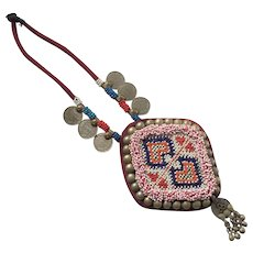 Vintage Ornate Ethnic Tribal Beaded Necklace with Coins