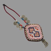 REDUCED Vintage Ornate Ethnic Tribal Beaded Necklace with Coins