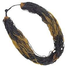 Vintage Ethnic Tribal Seed Bead Torsade Necklace