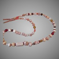 Vintage Ethnic Tribal African Clay & Glass Bead Necklace