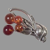 REDUCED Sterling Honey Amber Leaf Pin