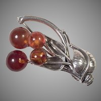 Sterling Honey Amber Leaf Pin