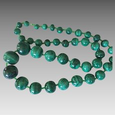 Vintage Hand Carved Malachite Graduated Bead Necklace