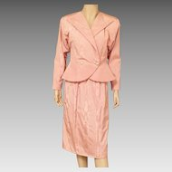 1980's Morton Myles Peach Satin Moire Evening Suit