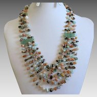 Chinese Multi-Strand Jade & Semi-Precious Gemstone Chip Necklace