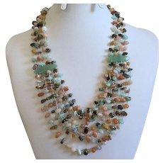REDUCED Chinese Multi-Strand Jade & Semi-Precious Gemstone Chip Necklace