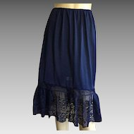 Vintage Van Raalte Opaquelon Navy Blue Half Slip With Lace
