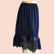 Vintage Van Raalte Opaquelon Navy Blue Half Slip With Lace