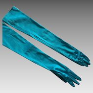 Vintage Stretch Aqua Satin Long Gloves By Naomi Misle
