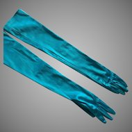 Vintage Stretch Aqua Satin Long Gloves By Naomi Misle