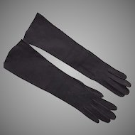 Vintage Black Suede Gloves Made In France For Stern Brothers