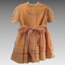 Vintage Child / Doll Fancy Party Dress Silk & Cotton