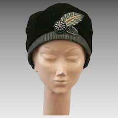 Artist Made Black Velvet Cloche Style Hat