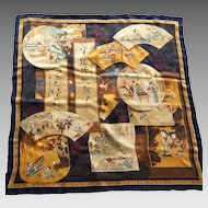 Vintage Large Silk Chinese Scarf Beautiful Scenes