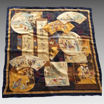 Vintage Large Silk Chinese Scarf Beautiful Scenes