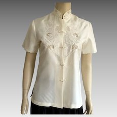 d4952fb7c94ddd Vintage Chinese Ivory Silk Embroidered Blouse