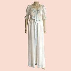 Vintage 1950's White Satin Peignoir Set By Iris Size 32