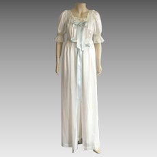 Vintage 1950's White Satin Peignoir Set By Iris Size 32