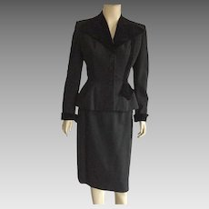 Vintage 1940's Black Wool & Velvet Suit