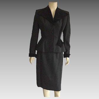 Vintage 1940's Black Wool & Velvet Suit