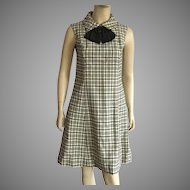 Vintage 1960's Black & White Plaid Wool Dress With Bow