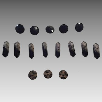 Group Of Vintage Black Glass Buttons