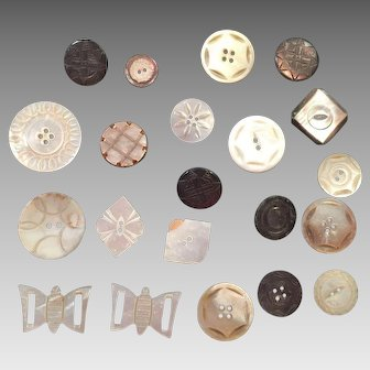 Group Of White & Black Mother Of Pearl Buttons