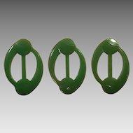 Three Vintage Art Deco Green Carved Bakelite Belt Buckles