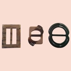 Group Of Three Art Deco Plastic Belt Buckles One Bakelite