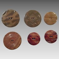 Group Of Six Large Art Deco Celluloid Buttons