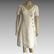 Vintage 1960's Malcolm Starr Cream Evening Dress With Rhinestone Buttons
