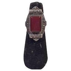 Vintage Art Deco Carnelian & Marcasite Ring