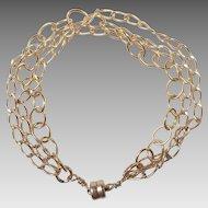 Vintage 14K Gold Filled Three Strand Chain Bracelet