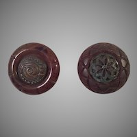 Two Vintage Brown Plastic Coat Buttons With Decorative Centers