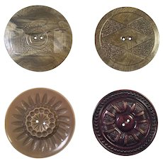Group Of Four Large Vintage Celluloid Coat Buttons