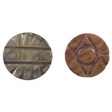 Two Vintage Large Plastic Coat Buttons