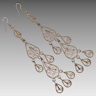 Fancy Filigree Shoulder Duster Earrings