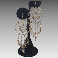 Fancy Large Dangle Earrings With Crystals & Seed Beads