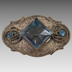 Art Deco Czech Blue Faceted Glass Pin