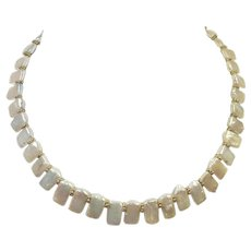 Vintage Flat Freshwater Natural Pearl Necklace