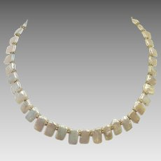 Vintage Flat Freshwater Natural Pearls Necklace